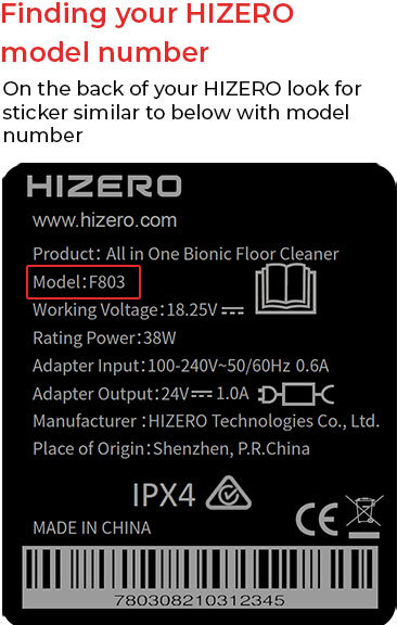 Find your Hizero model number